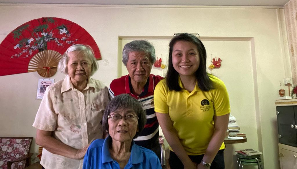 Christabel (right) with Mr & Mrs Teo, our long-time volunteers before the Circuit Breaker