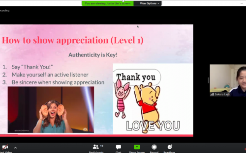 Sakura, a volunteer from CJC shares about Appreciation