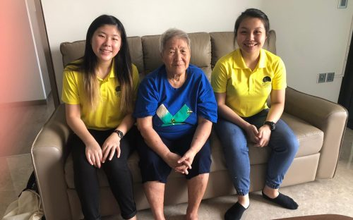Jia Yi (left) and Christabel (right) spending time with a C3 Befriendee